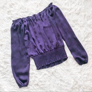 Michael Kors Deep Purple Off the Shoulder Top